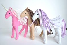 A printable felt horse pattern to sew and make your very own Waldorf inspired horse toy. Create your own herd of felt horses, unicorns and pegasus.