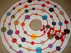 Multicolor Polka Dot Christmas Tree Skirt by torilynn817 on Etsy, $95.00