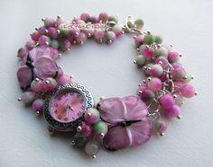 """Купить """"Порхание лепестков"""" наручные часы с бусинами лэмпворк - розовый, часы, часики, женские часы"""