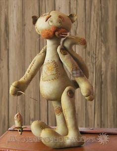 "Выкройка куклы примитива ""кот и мышка"""