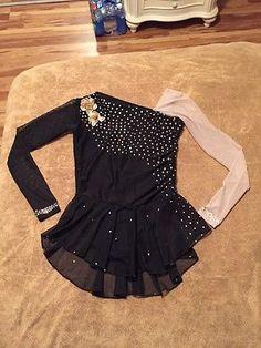 Black Long Sleeve Del Arbour Ladies 2-4 Stoned Figure Skating Dress