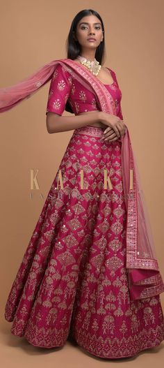 Rani Pink Lehenga With Foil Printed Buttis And Chandelier Motifs Online - Kalki Fashion Lengha Choli, Pink Lehenga, Sari, Lehenga Pattern, Pink Fashion, Dress Outfits, Dresses, Traditional Outfits, Repeat