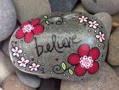 Happy Rock believe Hand-Painted Beach River Rock Stone