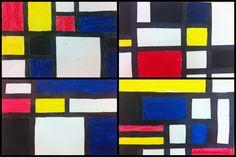 4e année - inspiration Mondrian - art abstrait mathématique - gouache, ruban adhésif à peinture et crayon Sharpie noir - couleurs primaires et formes géométriques