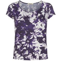 Precis Petite Scoop Neck Print Top, Multi Purple (€44) found on Polyvore featuring tops, petite, floral print tops, floral top, print top, precis petite and short sleeve tops