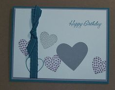 Happy Birthday Handmade Greeting Card Hearts by Sassadoodle