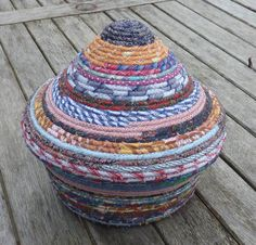 COILED FABRIC BASKET - harlequin colours with lid