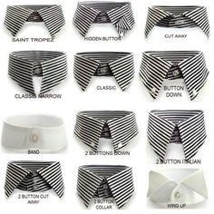 Collars: know them.  El cuello de una camisa debe armonizar con tu tipo de rostro, ancho del pecho y grosor /longitud del cuello.