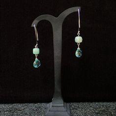 Drop Earrings with Aquamarine teardrops & Amazonite faceted cube. Sterling silver V shape hooks. Gemstone earrings, handmade, for her, green by Menir on Etsy