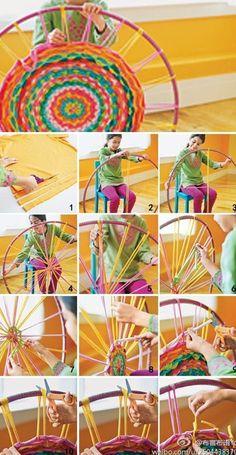 Creating a rug using a hula hoop and t shirt/sheet strips!