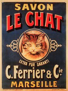 オールポスターズの「Savon Le Chat」ブリキ看板