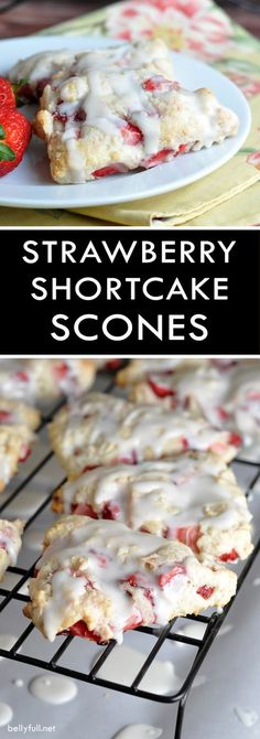 Shortcake Scones Strawberry Shortcake Scones - tender flaky scones with fresh strawberries throughout and a dreamy glaze!Strawberry Shortcake Scones - tender flaky scones with fresh strawberries throughout and a dreamy glaze! Just Desserts, Delicious Desserts, Yummy Food, Tasty, Strawberry Scones, Strawberry Cookies, Strawberry Shortcake Dessert, Strawberry Butter, Strawberry Breakfast
