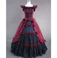 Unique, Elegant Designer Black and Wine Red Classic Gothic Victorian Dress for Full Selection of gothic victorian lolita dresses, Tailor Made, Fast Shipping. Buy Black and Wine Red Classic Gothic Victorian Dress Now! Victorian Corset Dress, Gothic Victorian Dresses, Victorian Ball Gowns, Gothic Lolita Dress, Victorian Fashion, Vintage Gothic, Fashion Vintage, Gothic Fashion, Moda Lolita