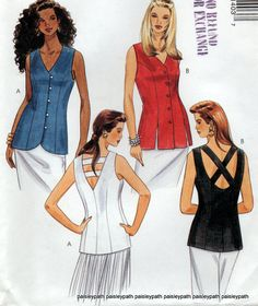 1994 sewing Pattern Ladies summer tops Hip length Front Button Vests Cross Over Back Details McCalls 7140
