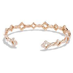 David Yurman Venetian Quatrefoil Single-Row Cuff Bracelet with... (88.484.490 IDR) ❤ liked on Polyvore featuring jewelry, bracelets, cuff bangle bracelet, diamond jewelry, diamond jewellery, rose gold cuff bangle and rose gold bangle