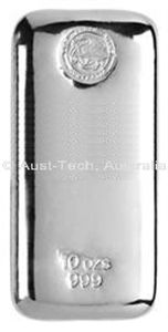 Aust-Tech, Australia. Cast Bar Silver 999 10 ounce