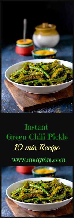 Instant green chili pickle-made with just 3 spices