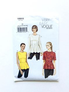 Vogue 8815 Womens Blouse Pattern Plus Size Available At Donna Designed