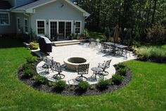 Tumbled Paver Patio with Planting Beds