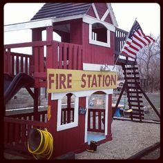 Turned a Sam's Club play set into a Fire Station! Tutorial : http://www.girlinair.com/2012/03/become-your-sons-hero-turn-plain-play.html