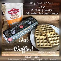 Homemade Oatmeal Waffles - Mindy Irish Fitness Oatmeal Waffles, Carb Day, Homemade Oatmeal, Oat Flour, Recipe Notes, Stevia, I Am Awesome, Irish, Fitness Motivation