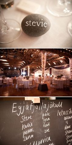 Personalized rock as place setting  AND barn decoration