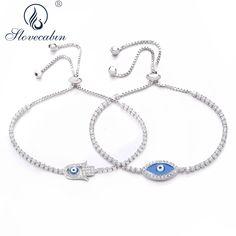 7063f6987 Slovecabin 2018 New 925 Sterling Silver CZ Jewelry 3 Styles Evil Eye Bracelet  Sparkling Strand Sliding