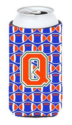 Letter Q Football Green, Blue and Orange Tall Boy Beverage Insulator Hugger CJ1083-QTBC