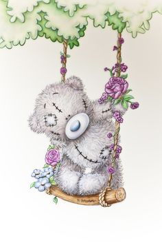 New Diamond Painting Kits for Adults Kids, Awesocrafts Swing Bear Purple Flowers Partial Drill DIY Diamond Art Embroidery Paint by Numbers with Diamonds (Swing) Tatty Teddy, Illustration Mignonne, Cute Illustration, Et Wallpaper, Teddy Bear Pictures, Blue Nose Friends, Love Bear, Cute Teddy Bears, Cute Drawings