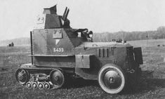 -Polish armoured half-track gun-armed car, with early markings, refitted with pneumatic tires, Armored Vehicles, Armored Car, Armored Fighting Vehicle, Military Weapons, Military Equipment, War Machine, Heavy Equipment, Car Photos, World War I