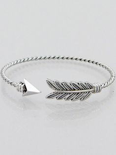 """Twisted arrow bracelet with detailed feather design. Available in Antique silver, rhodium silver, gold and burnished bronze! Great for stacking, wearing alone or as a gift."""