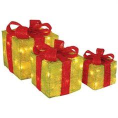 Ensemble de 3 cadeaux de Noël illuminés     26.98$