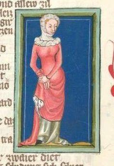 14th century headdress / veil ( manuscript : Weltchronik in Versen - Mischhandschrift aus Christ-herre-Chronik - BSB Cgm 5, Folio 94, 1370, Germany )