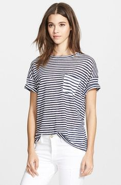 Free shipping and returns on Frame Denim 'Le Boyfriend' Stripe Linen Tee at Nordstrom.com. Navy stripes whip across an easy-fit linen tee styled with dropped shoulders and cuffed sleeves that enhance the borrowed-from-the-boys look.