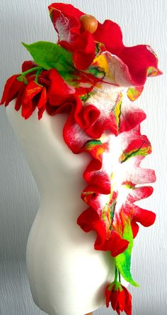felted Flower Hand Felted Wool Jewelry felted  scarf by SkyWool, $49.99