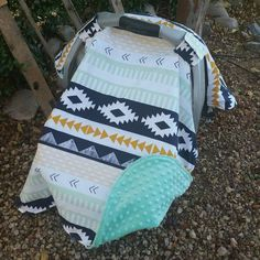 Baby Car Seat Canopy  Baby Car Seat Cover  Aztec by KadydidDesigns $49.99