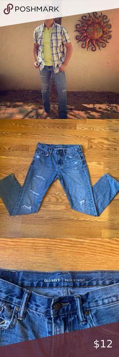 New Levi/'s 512 Slim Taper Distressed Tuxedo Stripe Jeans Size 38x30 Blue