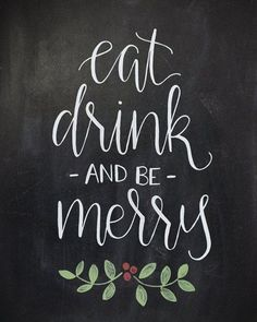SALE Eat Drink and Be Merry Chalkboard by HeartcraftedCo on Etsy