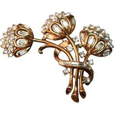 #VintageBeginsHere with jewelry for Mom! WOW! www.rubylane.com @Ruby Lane INCREDIBLE Philippe Crown Trifari Triple Thistle Flower Figural Brooch Pat Pend!