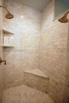 bathrooms - Benjamin Moore - Silver Marlin - polished nickel shower kit marble tiles shower surround small marble tile shower floor Marble shower