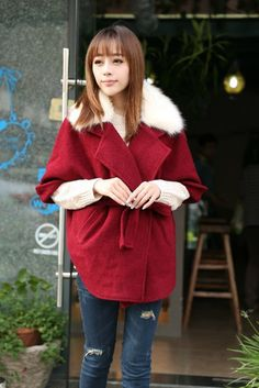 Casual Turndown Collar Half Sleeves Single-breasted Red Woolen Blend