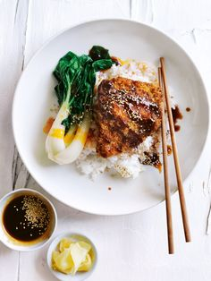 panko-crumbed chicken with sticky soy and sesame rice