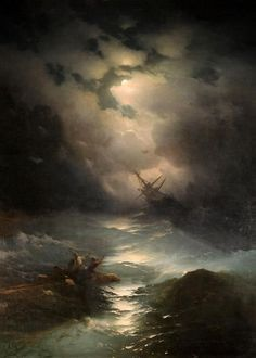 The Shipwreck On Northern Sea 1865 oil painting by Famous Artist - Ivan Aivazovsky William Turner, Nautical Art, Wow Art, Oil Painting Reproductions, Seascape Paintings, Shipwreck, Russian Art, Nocturne, Famous Artists