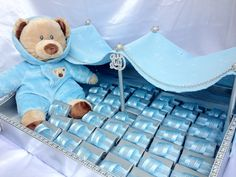 Baby boy tent with blue wrapped chocolate.