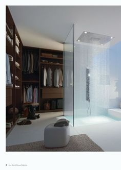 Are you planning to build a walk in closet in your new home? What do you think of this idea of having a shower in your walk in closet?