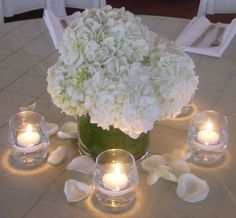 Hydrangea Centerpiece  Hydrangea & Rose Petals available at Flyboy Naturals www.flyboynaturals.com