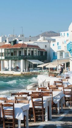 outdoor cafe, Mykonos. I can forgive the touristy feeling because of the ocean.