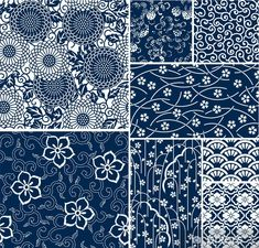 Olympus Sashiko Fabric - Sashiko Placemat Kit # 311 - Asanoha & Seven Treasures - Navy - Japanese Embroidery - Embroidery Design Guide Japanese Textiles, Japanese Fabric, Japanese Prints, Japanese Design, Japanese Art, Traditional Japanese, Japanese Yukata, Traditional Fabric, Textile Patterns