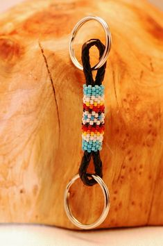 Native American Beaded Keychains | Navajo – Multi-Colored Seed Bead Key Holder/Key Chain by Gerald ...