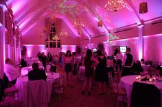 A room saturated with Pink Uplighting !  Add a custom monogram / GOBO designed with your initials or names projected onto the dance floor, wall or any other surface.   We will take any design you have, and make it into a projection GOBO.  Number of lights  Price   12   $840 //  15   $990 //  20 $1240  // 24   $1440 //  30   $1560 //  40  $1960  // 50  $2360